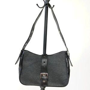 STUART WEITZMAN leather & fabric shoulder bag